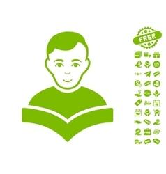 Student icon with free bonus vector