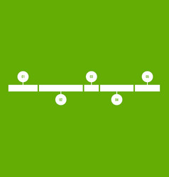 Timeline infographic icon green vector