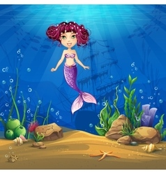Undersea world with brunette mermaid vector image vector image