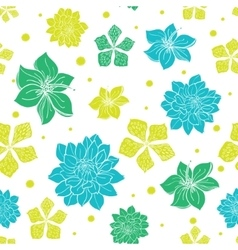 Vibrant blue green exotic flowers seamless vector