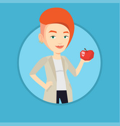 young woman holding apple vector image vector image