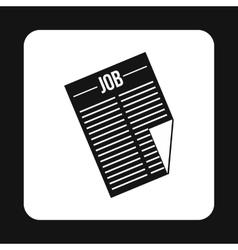 Newspaper with job headline icon simple style vector
