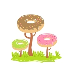 Three Chocolate Trees With Dnut Crowns Fantasy vector image