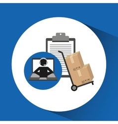 Delivery call centre operator online clipboard and vector