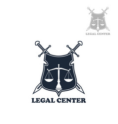 Lawyer office heraldic shield badge with swords vector
