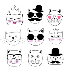 Cute hand drawn cat set vector