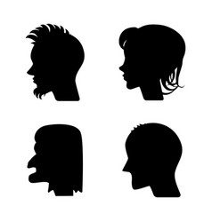 Profiles or cameo silhouettes vector