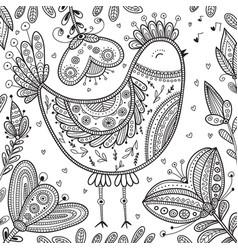 Decorated bird in ethnic boho style vector
