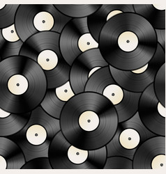 Vintage vinyl discs retro seamless pattern vector