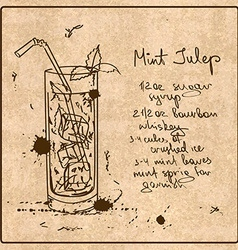 Hand drawn mint julep cocktail vector