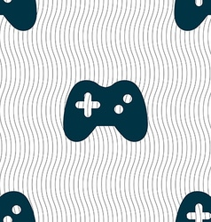 Joystick icon sign seamless pattern with geometric vector