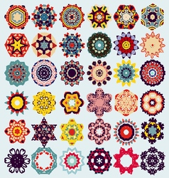 Set of mandala round ornament pattern vector