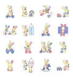 Rabbits playing with toys vector