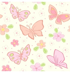 butterfly and flower pattern vector image