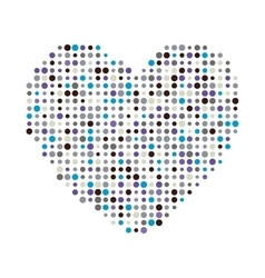 Multicolor dots heart icon vector