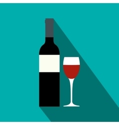 Red wine bottle icon flat style vector
