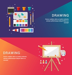 Drawing concept set of flat style for web banners vector