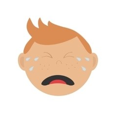 Crying screaming guy head baby boy emotion vector