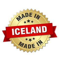 Made in iceland gold badge with red ribbon vector
