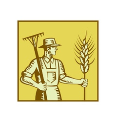 Farmer with rake vector