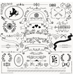 Hand sketched rustic floral design elements vector