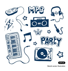 Music elements set vector