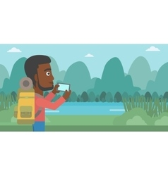 Man with backpack taking photo vector
