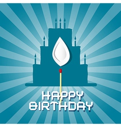 Blue Birthday Background with Cake Silhouett vector image vector image
