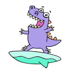 cartoon purple dinosaur surfer on surfboard vector image