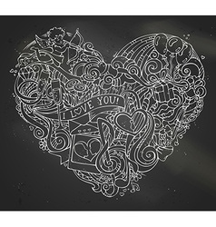 Chalk hand-drawn doodles heart on blackboard vector