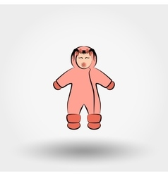 Child in winter overalls icon vector image