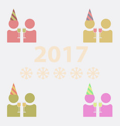 Collection of people celebrating christmas vector
