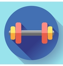 Color dumbbell icon with long shadow Symbol of vector image