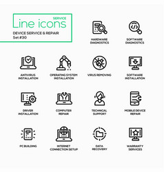 device service repair - modern single line vector image vector image