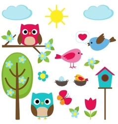 Different spring elements vector image vector image
