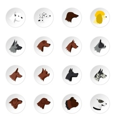 Dog head icons set flat style vector