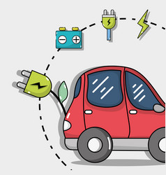Electric car technology with recharge battery vector