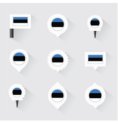 Estonia flag and pins for infographic and map vector