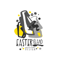 Exotic easter island summer vacation logo vector