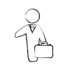 Figure businessman with suit and briefcase vector
