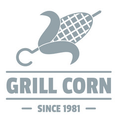 Grill corn logo simple gray style vector