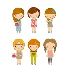 Group of girls icon kid and cute people design vector