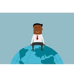 Happy businessman sitting on the earth globe vector