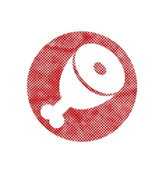 icon of Meat with pixel print halftone dots vector image