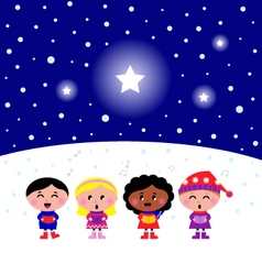 Kids singing a christmas carol vector