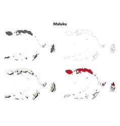 Maluku blank outline map set vector