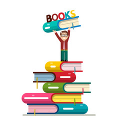 man holding book above head on books pile vector image vector image