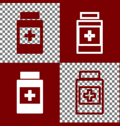 Medical container sign bordo and white vector