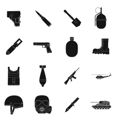Military and army set icons in black style big vector