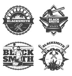 Monochrome vintage blacksmith emblems set vector